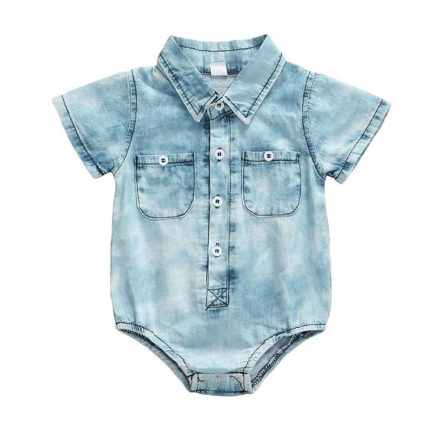 2020 Baby Summer Clothing Retro Infant Denim Romper Kids