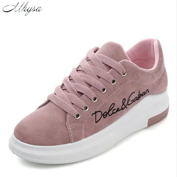 Mhysa 2019 Spring Autumn New Wedges Pink Lace-up Platform Sneakers