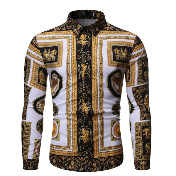 2020 Autumn New Men's Silk Satin Printed Shirts Male Slim Fit Long Sleeve Party Shirts