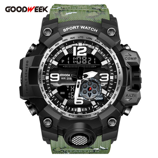 GOODWEEK Waterproof Military Watch Men Sports Watches With Compass