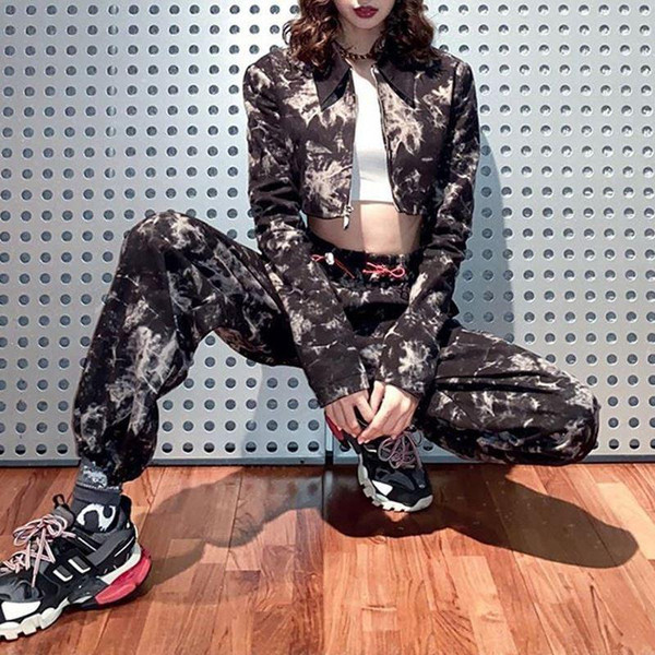 Camoflage Cargo Pats Set Women 2020 New Fashion High Waisted Baggy Pant