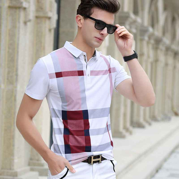 Men Polo Shirt Hot Sale New plaid 2020 Summer Fashion classic casual tops