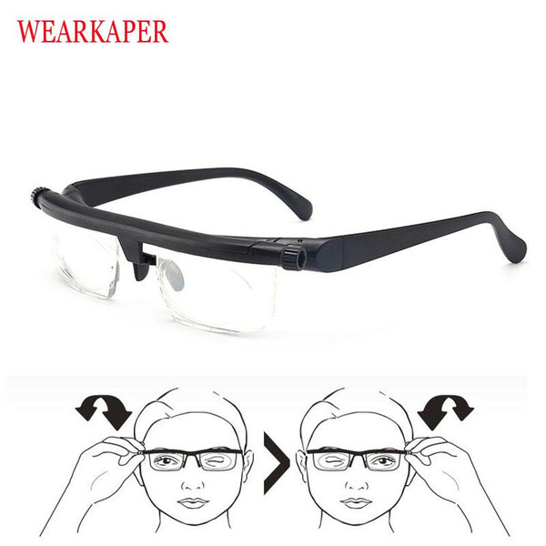 Newest Vision Focus Adjustable TR90 Reading Glasses Myopia Eye Glasses -6D to +3D Variable Lens Correction Binocular Magnifying