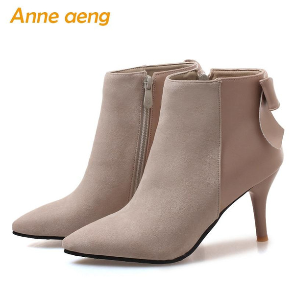 2018 New Winter Women Ankle Boots High Thin Heel Pointed Toe Elegent Sexy Ladies Women Shoes Beige Snow Boots Big Size 33-46 - Joelinks store