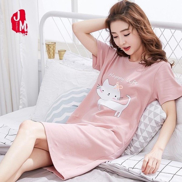 Cartoon Cotton Sleepwear Women Summer Nightgowns
