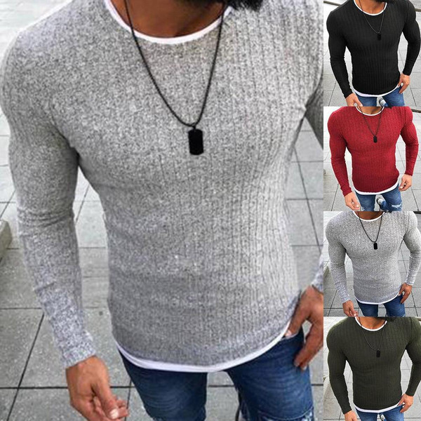 Men Sweater Top  Long Sleeve Pullover Knitted Sweater