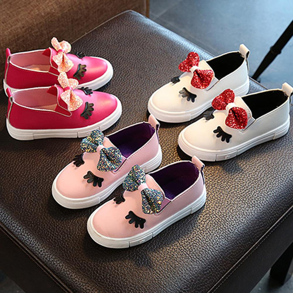 Cute Kids Girls Shoes Fashion New Bow PU Soft Cartoon Formal Party Shoes Evening Leather Fancy Girls Casual Shoes - Joelinks store