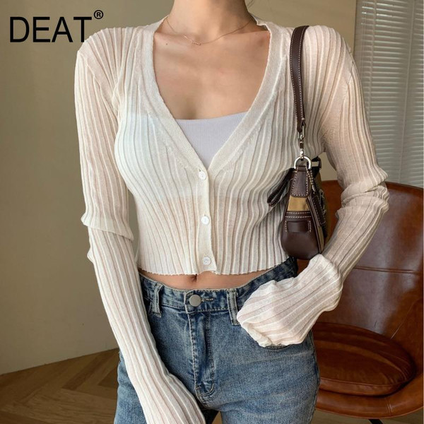 DEAT Summer Fashion Casual V Neck Cardigan For Women