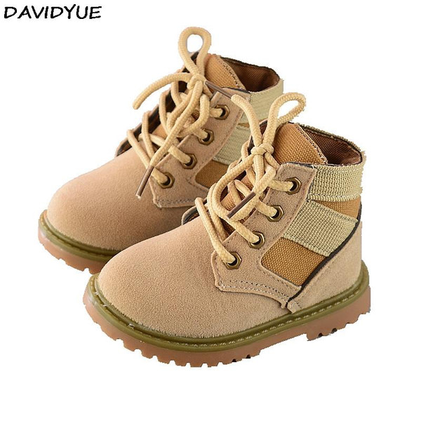 2017 new autumn spring children kids boots casual flat girls boys new martin boots flat kids winter  leather army  shoes - Joelinks store