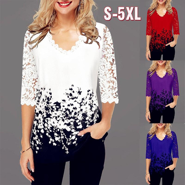 Casual Lace Spring Ruffles Crochet Tops For Women Ladies Blouse