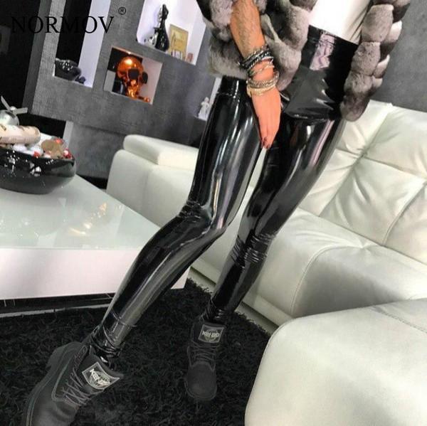 NORMOV Sexy Elastic Leather Black Pants Leggings High Waist Women