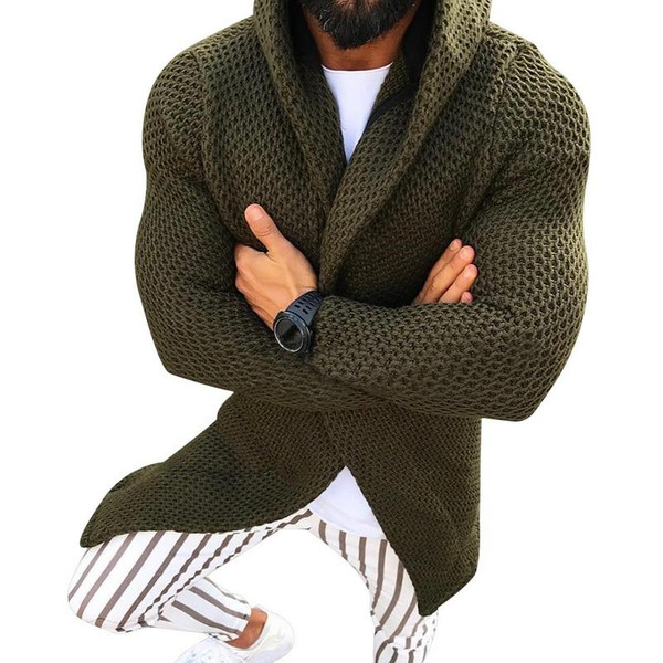 Adisputent Men Hooded Cardigan Sweater Long Sleeved Knitted