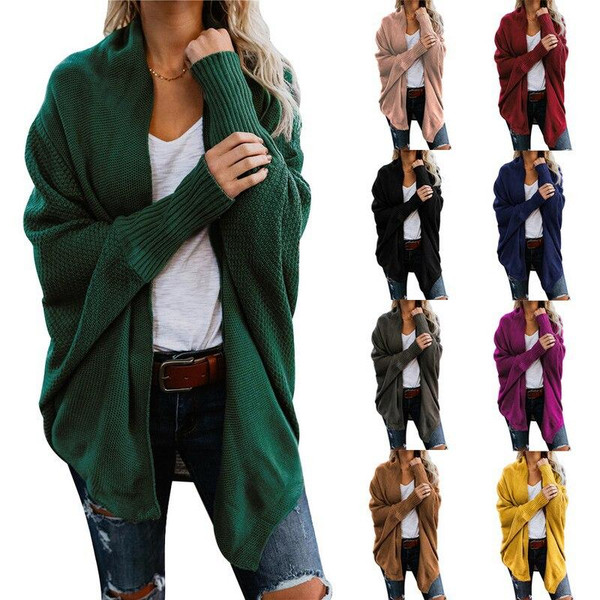 Autumn Winter Batwing Casual Knitted Cardigan Female Ladies  Women