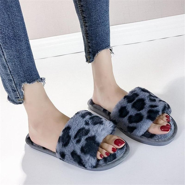 COOTELILI Winter Women Home Slippers Leopard Plus Size 41