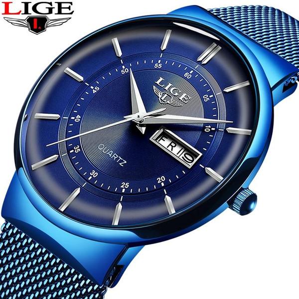 2019 New Blue Quartz Clock LIGE Mens Watches Top Brand Luxury Watch For Men