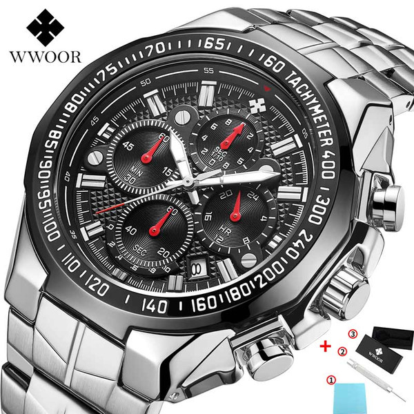 WWOOR Watches Men Top Brand Luxury Black Sport Chronograph Clock