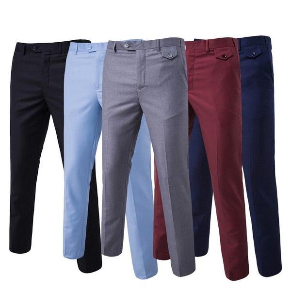 Autumn Men Fashion Cotton Solid Color Business Suit Pants Trousers
