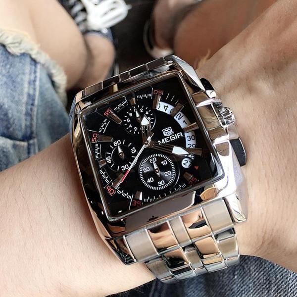 MEGIR Men's Big Dial Luxury Top Brand Quartz Wristwatches Creative Business Stainless Steel Sports Watches Men
