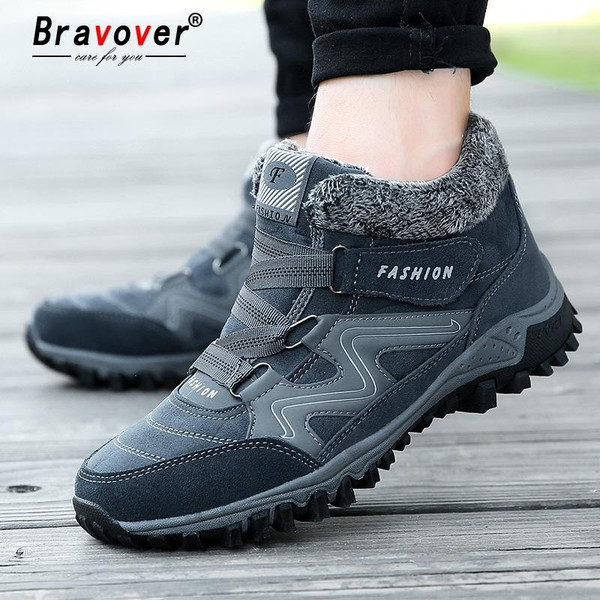 Unisex New Winter Fashion Casual Men Waterproof Snow Boots Warm Shoes With Fur And Plush Outdoor Sneakers With Large Size 35~45 - Joelinks store