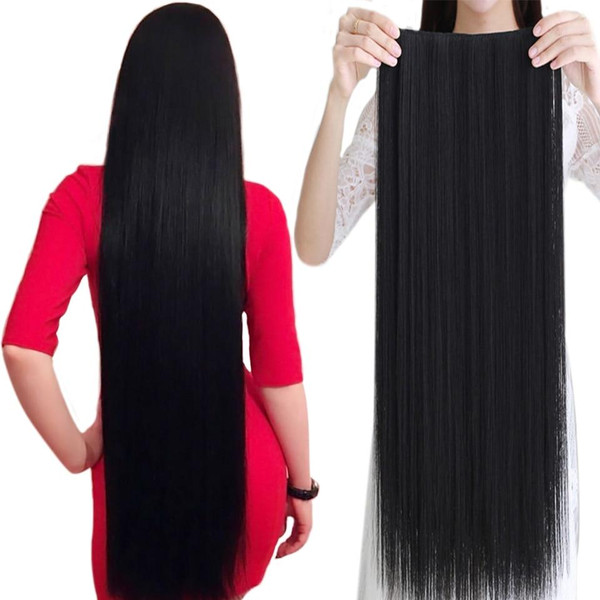 WTB 100cm 5 Clip In Hair Extension Heat Resistant Long Straight Black Fake Hairpiece for Women Natural Synthetic Hair 5 Sizes
