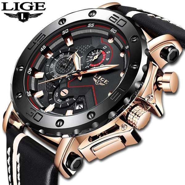 LIGE New Fashion Mens Watches Top Brand Luxury Big Dial Military Quartz Watch Leather Waterproof Sport Chronograph Watch Men