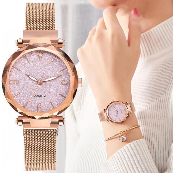 Rose Gold Women Watch 2020 Top Brand Luxury Magnetic Starry Sky Lady Wrist Watch Mesh Female