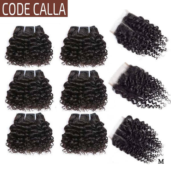 Code Calla Kinky Curly Hair Bundles with Lace Closure Indian Remy Human Hair Extensions