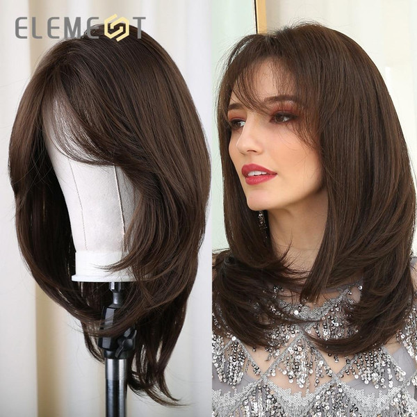Element Medium Length Synthetic Straight Natural Brown Wigs with Side Bangs Heat Resistant Party Wigs