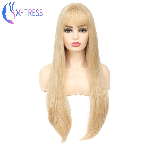 X-TRESS Fashion Long Gold Blonde Synthetic Wig For Women Straight Female Hair Wigs