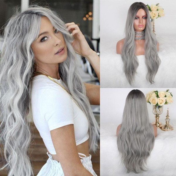 JONRENAU Long Natural Wave Synthetic Ombre Dark Brown to Ash Gray Wigs for White Black Women Party Costume