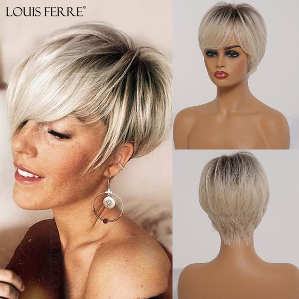 LOUIS FERRE Short Ombre Black Ash Light Blonde White Synthetic Wigs With Bangs For Black Woman Afro Cosplay Wig High-Temperature