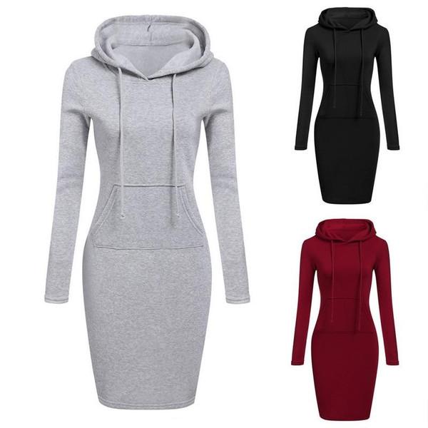 Full Sleeves Fleeces Women Dresses Winter Dress Women Vestidos Hoodies Sweatshirts