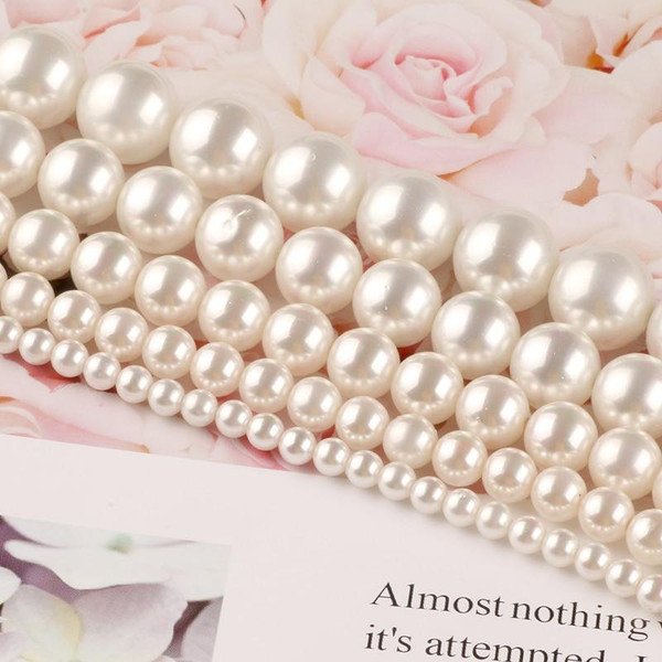 Natural White Shell Pearl Round Loose Beads For Jewelry Women Ladies