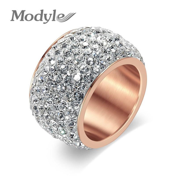 Modyle New Fashion Rose Gold-Color Fashion Rhinestone Rings for Women Gold-Color Zircon Jewelry Stainless Steel Ring