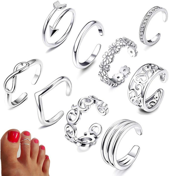 Beach Vacation Knuckle Foot Ring Open Toe Rings Set for Women Girls Finger Heart Ring Adjustable Jewellery Wholesale