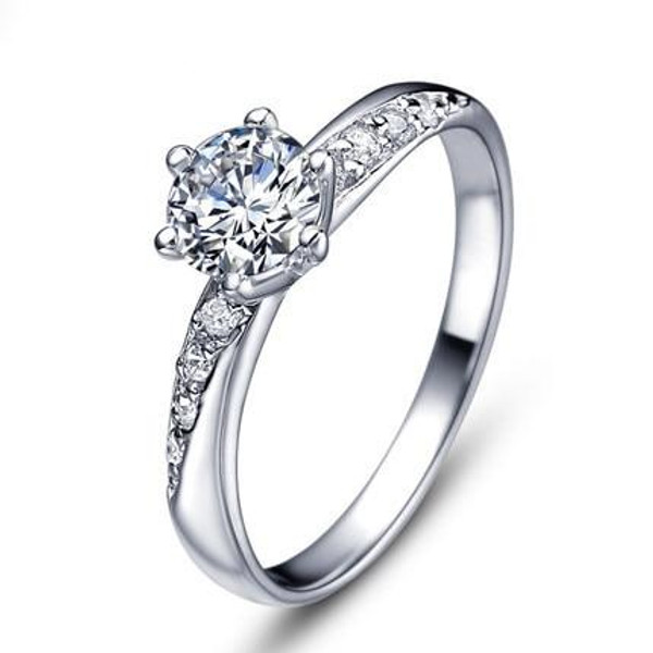Hot sell new fashion 925 sterling silver shiny zircon female finger rings for women jewellery wholesale wedding gift