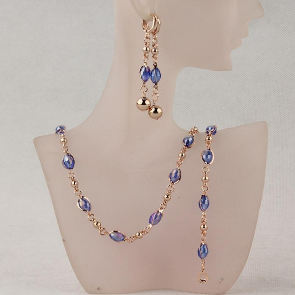 Fashion Crystal African Beads Jewelry Bridal Jewelry Sets Women Necklace Earrings Bracelets Jewellery