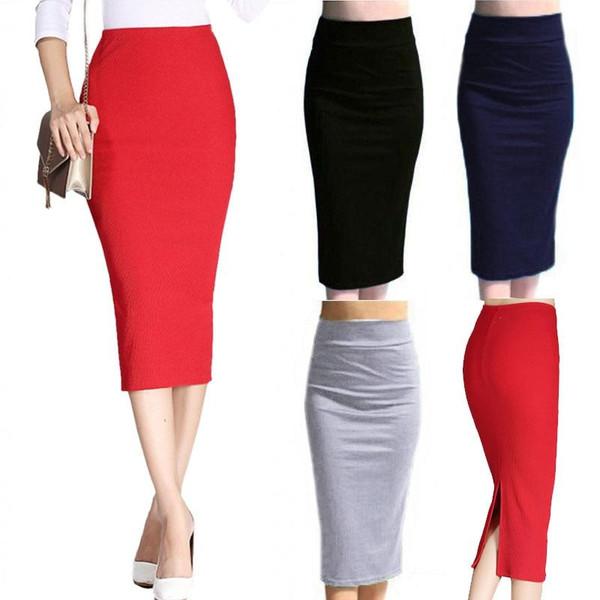 Autumn Winter Women Pencil  Bodycon Skirt High Waist Cotton Solid Color Stretch Elastic Slim