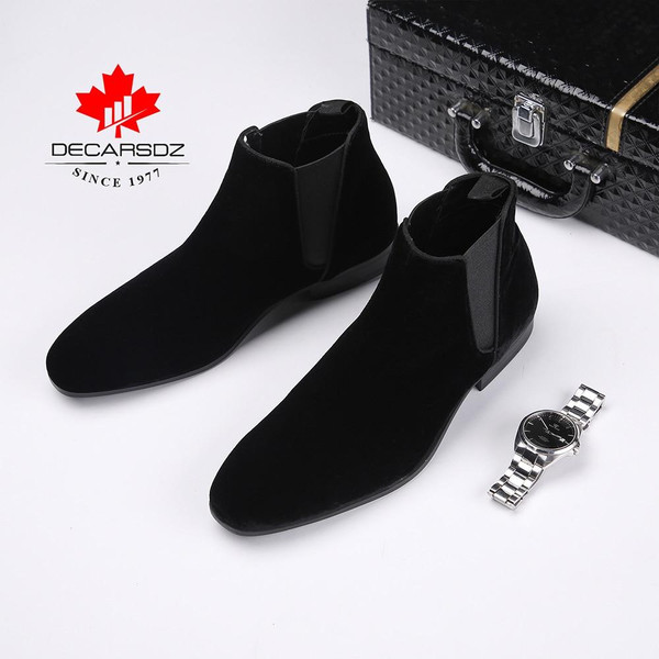 Chelsea Boots Men Classic Casual Black Brand Men Boots