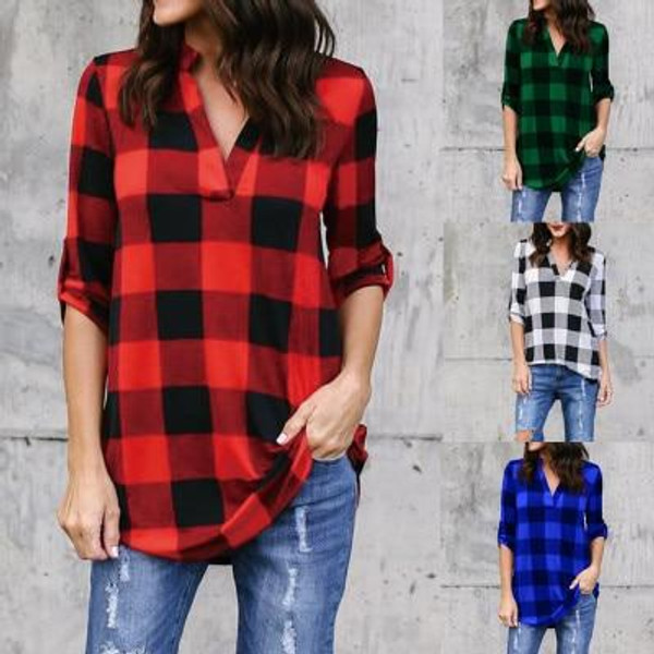MisShow  New Casual Red Plaid Women Blouses Red Black Check Extra Large