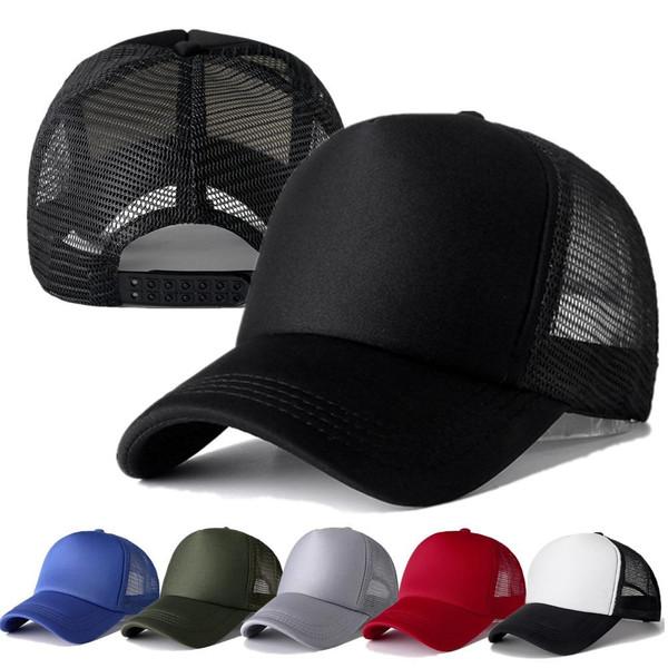 1 PCS Unisex Cap Casual Plain Mesh Baseball Cap Adjustable Snapback Hats For Women Men