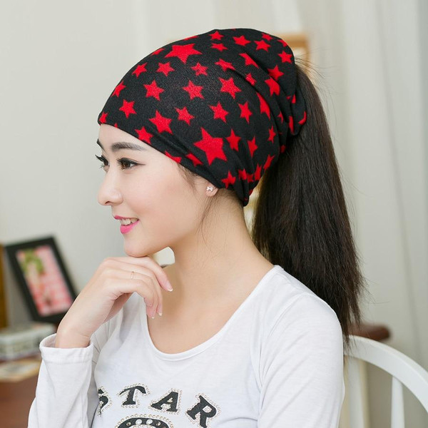 Spring New Arrival 2 Colors Star Women's Hats Adjustable Size Beanie Girls Skullies Winter Hats For Women Autumn Thin Hat