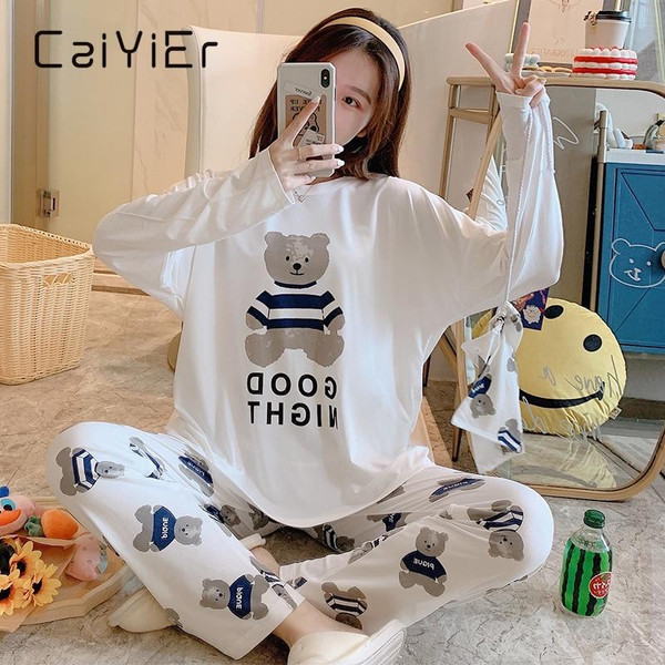 CAIYIER  Autumn Winter Women Pajamas Casual Sleepwear Ladies