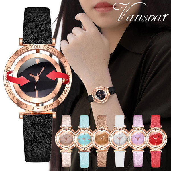 Vansvar Women Watch I Love You Forever Leather Band Quartz Wrist Rotatable gift