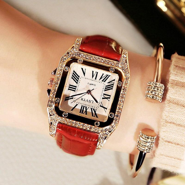 Hot LSVTR Luxury Women Watches Leather  Square Quartz Watch