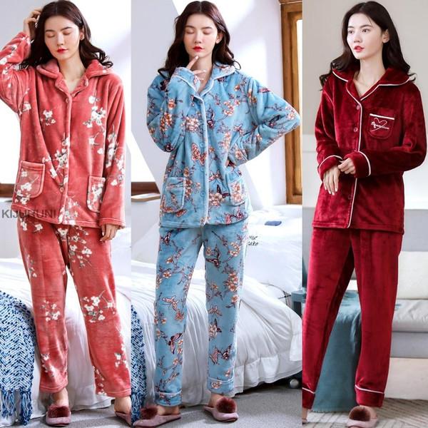 Two Pieces Winter Women Thicken Warm Soft  Female Flannel Pajamas Set