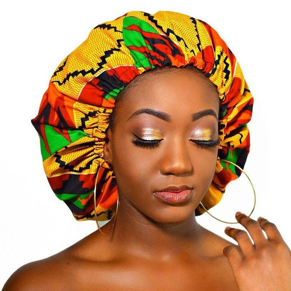 New Extra Large Satin Lined Bonnet Women Big Size Beauty Print Satin Silk Bonnet