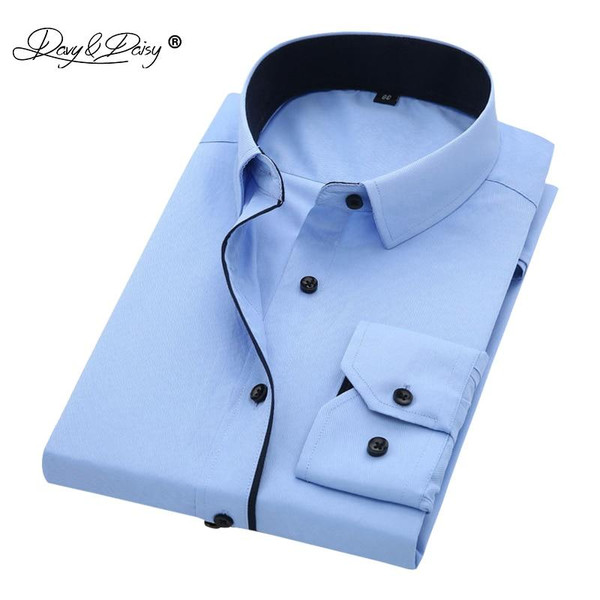 DAVYDAISY Hot Sale High Quality Men Shirt Long Sleeve Twill Solid Causal  Formal Business Shirt Brand Man Dress Shirts DS085