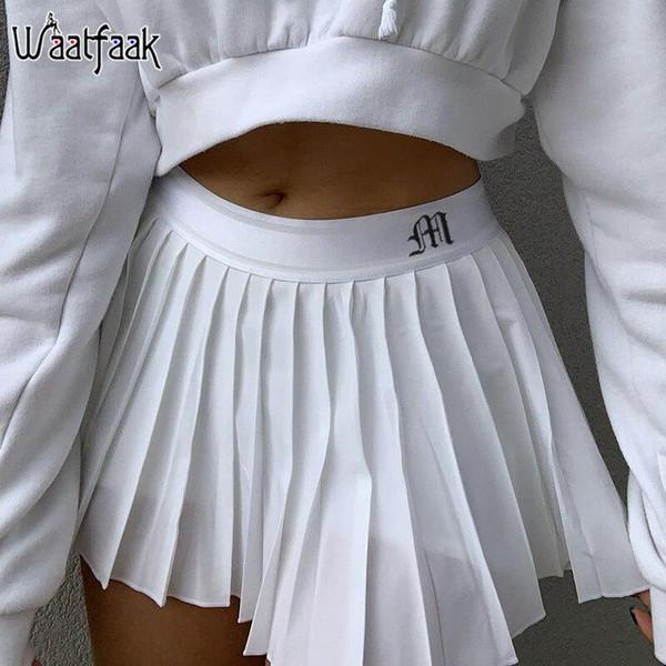 Waatfaak White Pleated Skirt Short Woman Elastic Waist Mini Skirts