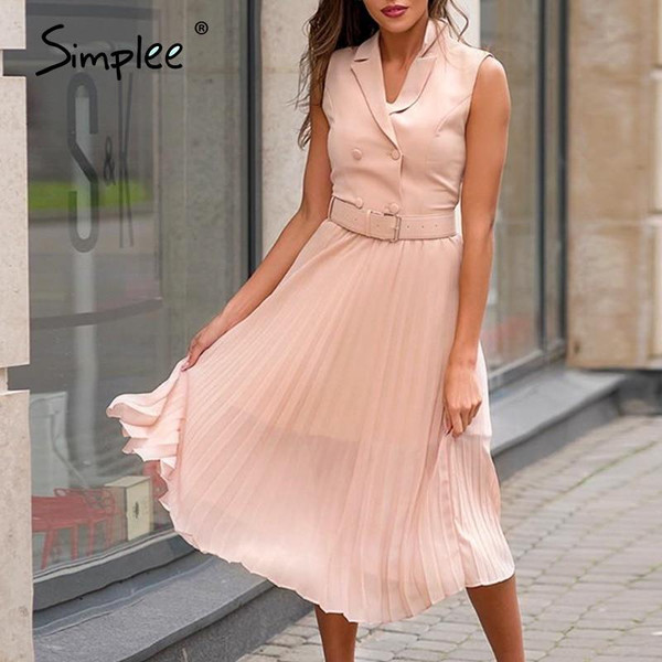 Simplee casual notched sleeveless dress Patchwork high waist belt office ladies